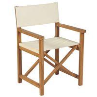 vidaXL Folding Director's Chair Solid Teak Wood Cream White