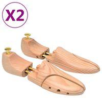 vidaXL Shoe Trees 2 Pairs Size 44-45 Solid Pine Wood