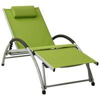 vidaXL Sun Lounger with Pillow Textilene Green