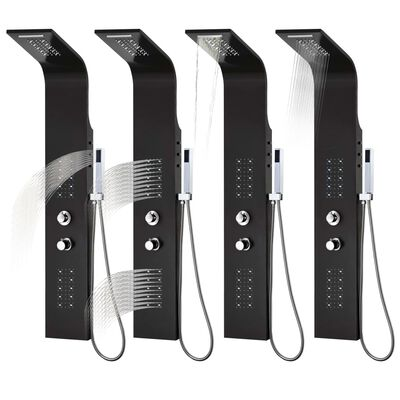vidaXL Shower Panel Unit Aluminium 20x44x130 cm Black