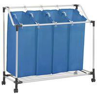 vidaXL Laundry Sorter with 4 Bags Blue Steel