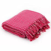 vidaXL Throw Cotton Squares 220x250 cm Pink