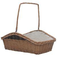 vidaXL Firewood Basket with Handle 61.5x46.5x58 cm Brown Willow