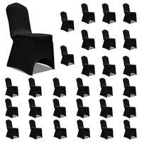 vidaXL Chair Cover Stretch Black 30 pcs