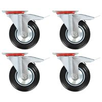 vidaXL Swivel Casters with Double Brakes 4 pcs 160 mm