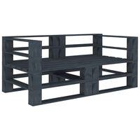 vidaXL Garden Pallet Sofa Grey 2-Seater Wood