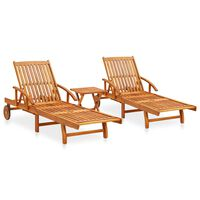 vidaXL 2 Piece Sunlounger Set with Table Solid Acacia Wood