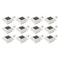vidaXL Outdoor Solar Lamps 12 pcs LED Square 12 cm White