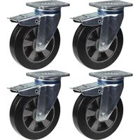"200mm 8"" castor black rubber swivel with brake strong 1800kg capacity,"