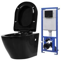 vidaXL Wall Hung Toilet with Concealed Cistern Ceramic Black
