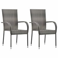 vidaXL Stackable Outdoor Chairs 2 pcs Grey Poly Rattan