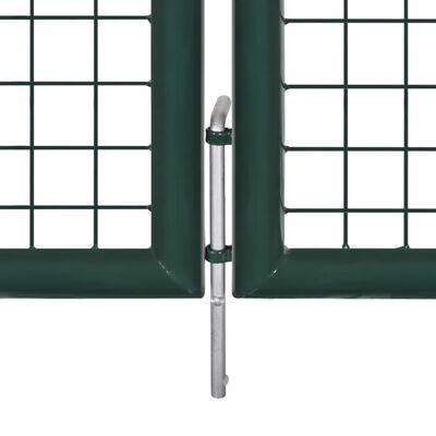 vidaXL Double Door Fence Gate Powder-Coated Steel