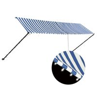 vidaXL Retractable Awning with LED 400x150 cm Blue and White