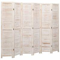 vidaXL 6-Panel Room Divider White 210x165 cm Wood