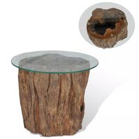 vidaXL Coffee Table Teak Glass 50x40 cm