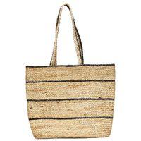 vidaXL Shopper Bag Natural with Dark Grey Stripe Handmade Jute