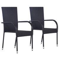 vidaXL Stackable Outdoor Chairs 2 pcs Poly Rattan Black