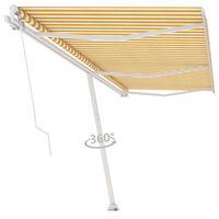 vidaXL Freestanding Manual Retractable Awning 600x350 cm Yellow/White