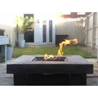 Peaktop Gas Fire Pit Square Wood Effect 89cm Propane Garden Patio HF11