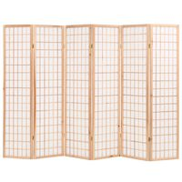 vidaXL Folding 6-Panel Room Divider Japanese Style 240x170 cm Natural