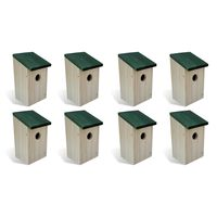 vidaXL Bird Houses 8 pcs Wood 12x12x22 cm