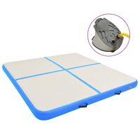 vidaXL Inflatable Gymnastics Mat with Pump 200x200x20 cm PVC Blue