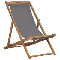 vidaXL Folding Beach Chair Solid Teak Wood Grey