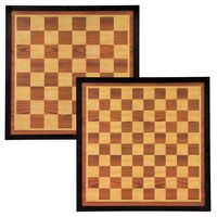 Abbey Game Chess and Draughts Board 41x41cm Wood Brown and Beige