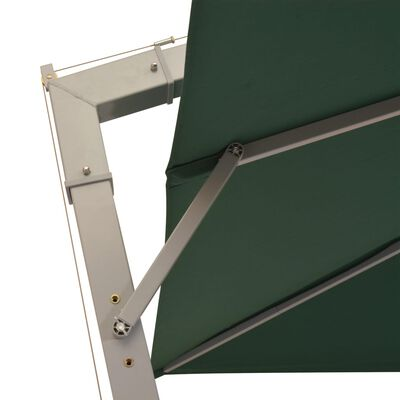 vidaXL Hanging Parasol 300x300 cm Green Aluminium Pole