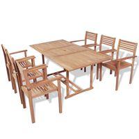 vidaXL 7 Piece Outdoor Dining Set Solid Teak Wood
