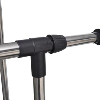 vidaXL Adjustable Clothes Rack 4 Castors 2 Hanging Rails
