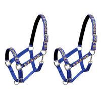 vidaXL Head Collars 2 pcs for Horse Nylon Size Full Blue