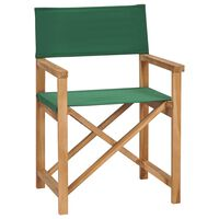 vidaXL Folding Director's Chair Solid Teak Wood Green