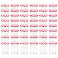 vidaXL Glass Jam Jars with White and Red Lid 48 pcs 400 ml