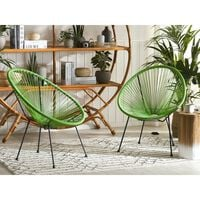 Set of 2 Rattan Accent Chairs Green ACAPULCO II