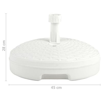 vidaXL Umbrella Base Sand/Water Filled 20 L White Plastic