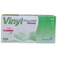 MediRite Vinyl Powdered Clear Small Disposable Gloves - 1 x 100