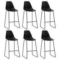 vidaXL Bar Chairs 6 pcs Black Plastic