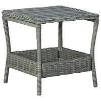 vidaXL Garden Table Light Grey 45x45x46.5 cm Poly Rattan