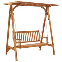 vidaXL Garden Swing Bench with Trellis Solid Acacia Wood