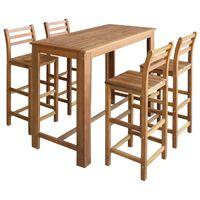 vidaXL Bar Table and Chair Set 5 Pieces Solid Acacia Wood