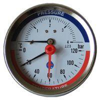 10 Bar 120C Pressure Gauge Rear Entry 1/2 Inch 80mm
