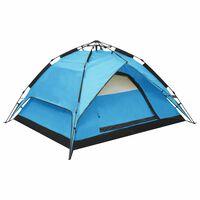 vidaXL Pop-Up Camping Tent 2-3 Person 240x210x140 cm Blue