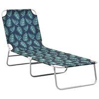 vidaXL Folding Sun Lounger Steel and Fabric Leaves Print