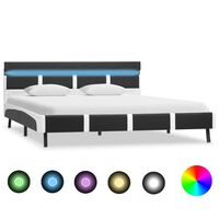 vidaXL Bed Frame with LED Grey and White Faux Leather 135x190 cm