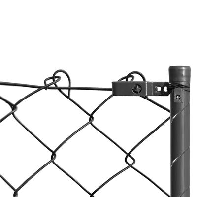 vidaXL Chain Link Fence with Posts and Hardware 1.97x25 m Grey