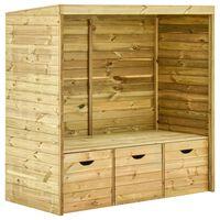 vidaXL Garden Arbour Bench with 3 Drawers 170 cm Solid Pinewood