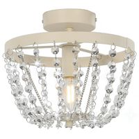 vidaXL Ceiling Lamp with Crystal Beads White Round E14