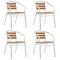 vidaXL Stackable Garden Chairs 4 pcs Aluminium and WPC Silver