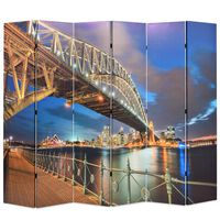 vidaXL Folding Room Divider 228x170 cm Sydney Harbour Bridge